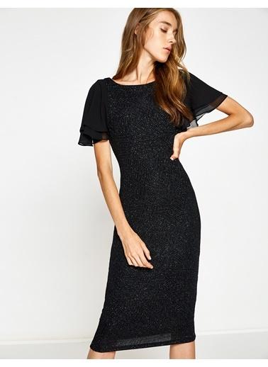 Şifon Kol Detaylı İşlemeli Kalem Elbise-Koton